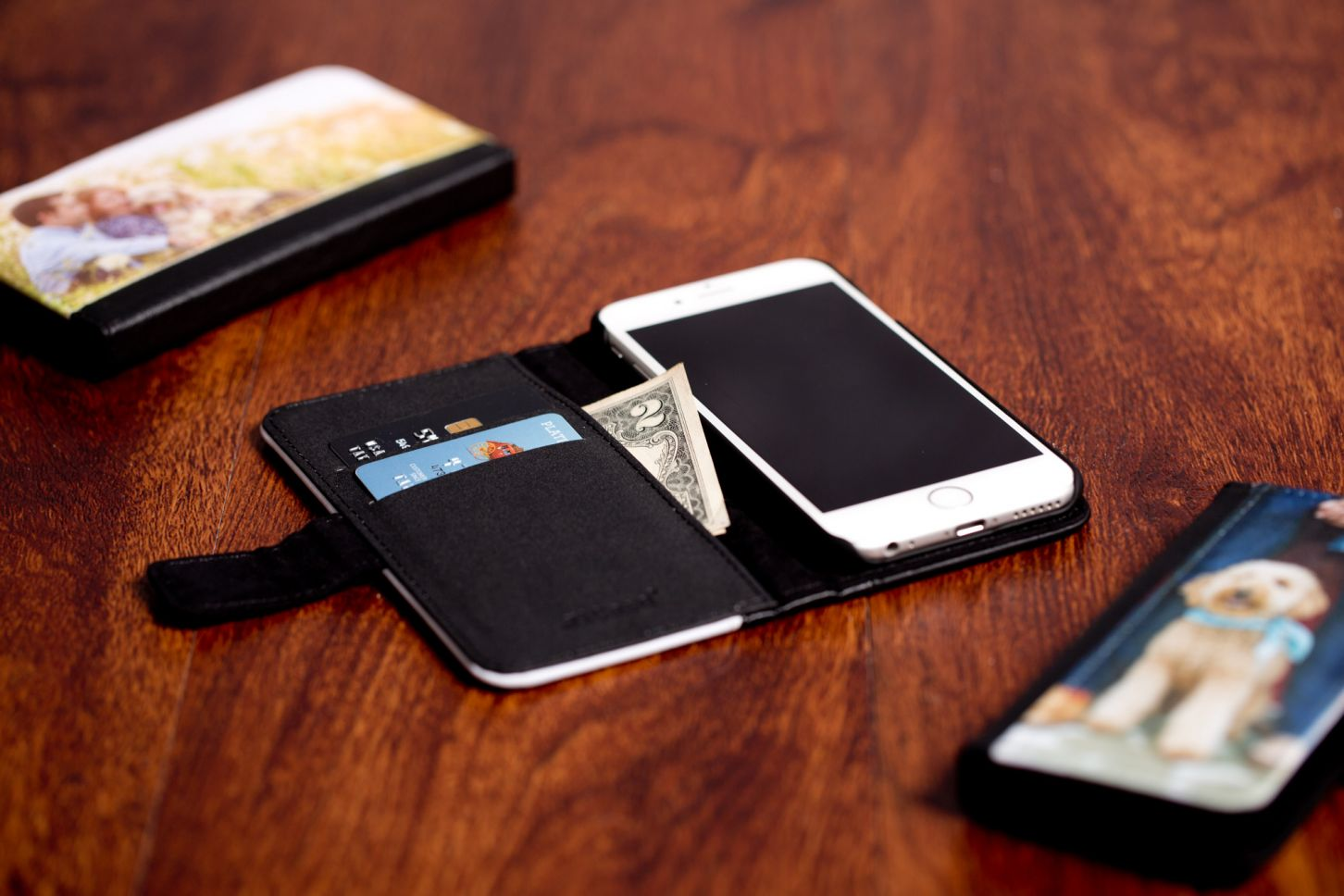 Another option is the fabric wallet case. Comes in black only with magnetic closure.