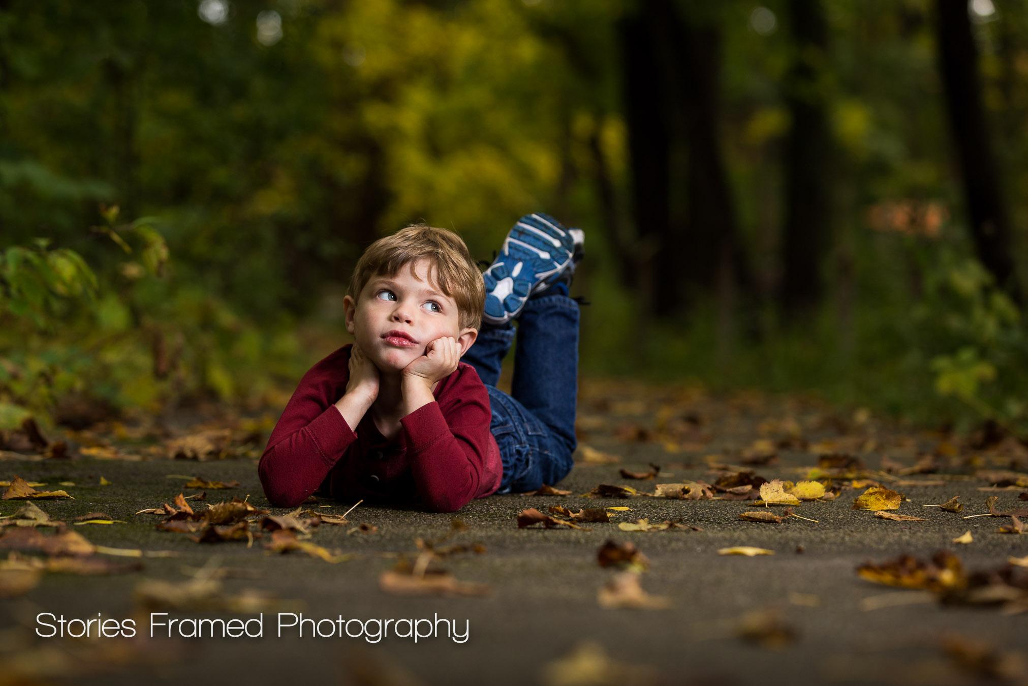 Sneak Peek Boy in Park Fall Photos