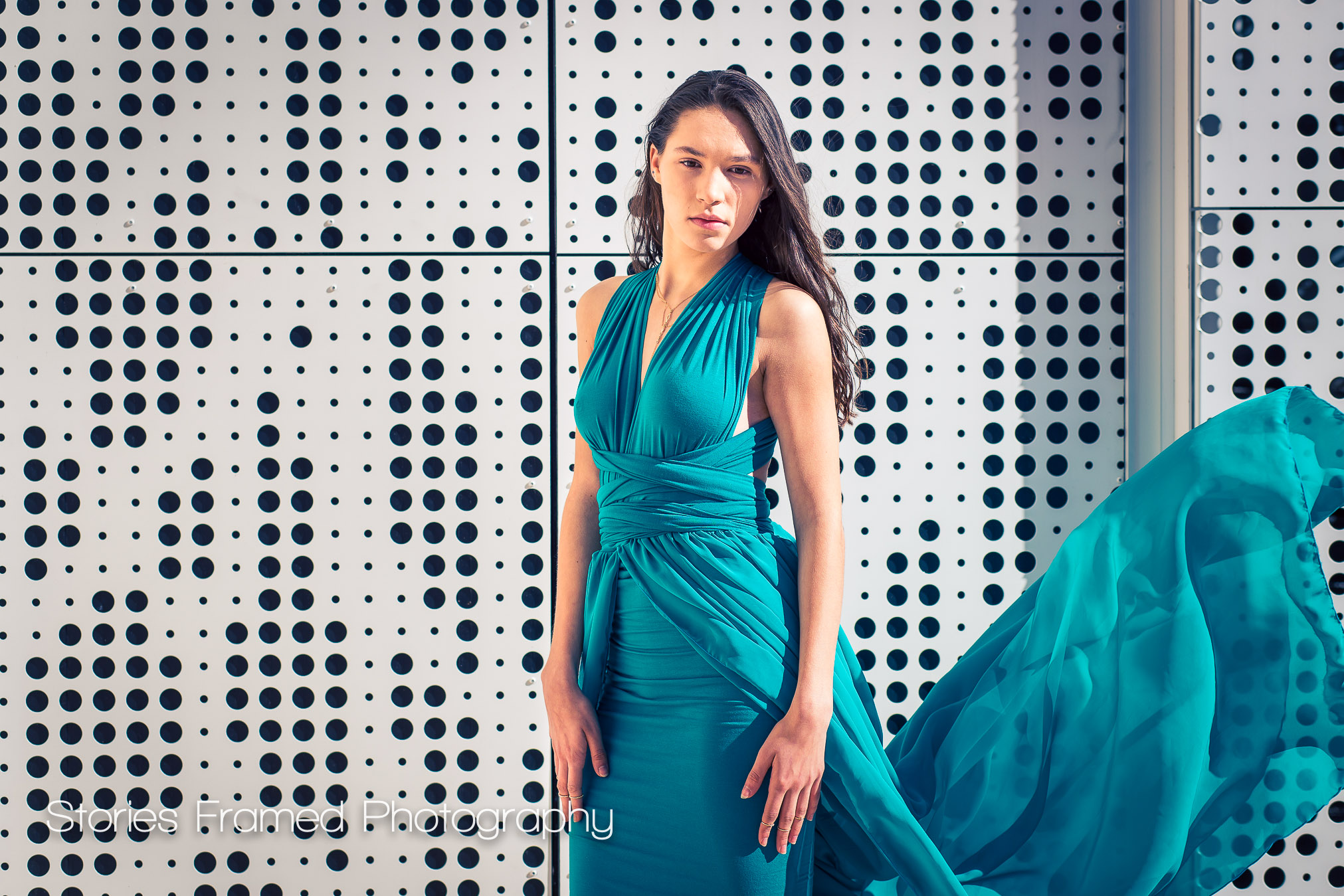 Imaging 2017 | senior girl portrait teal gown white wall
