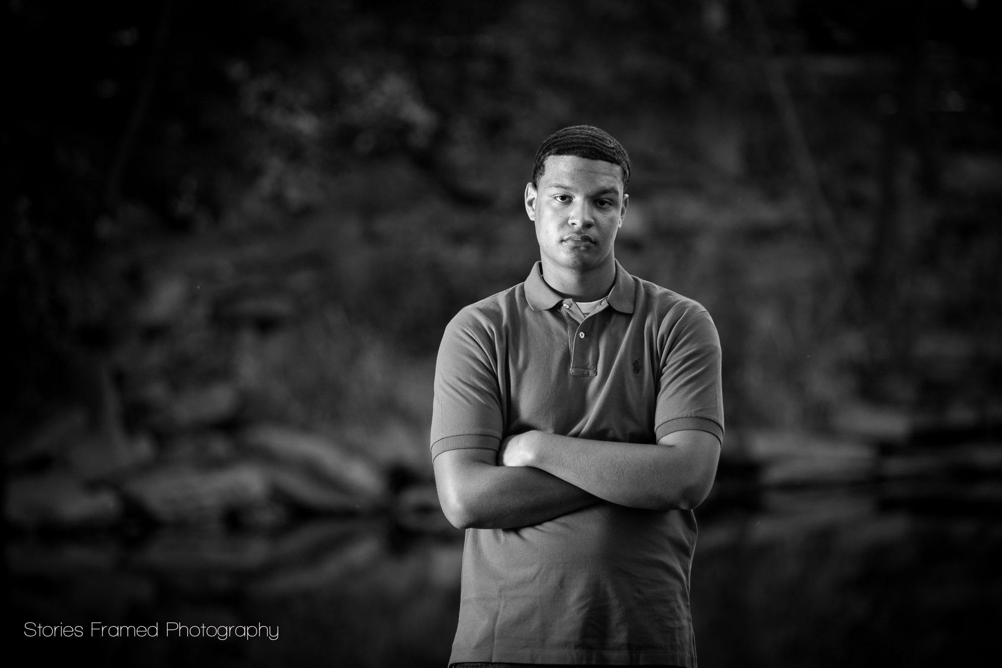 black and white portrait in a river