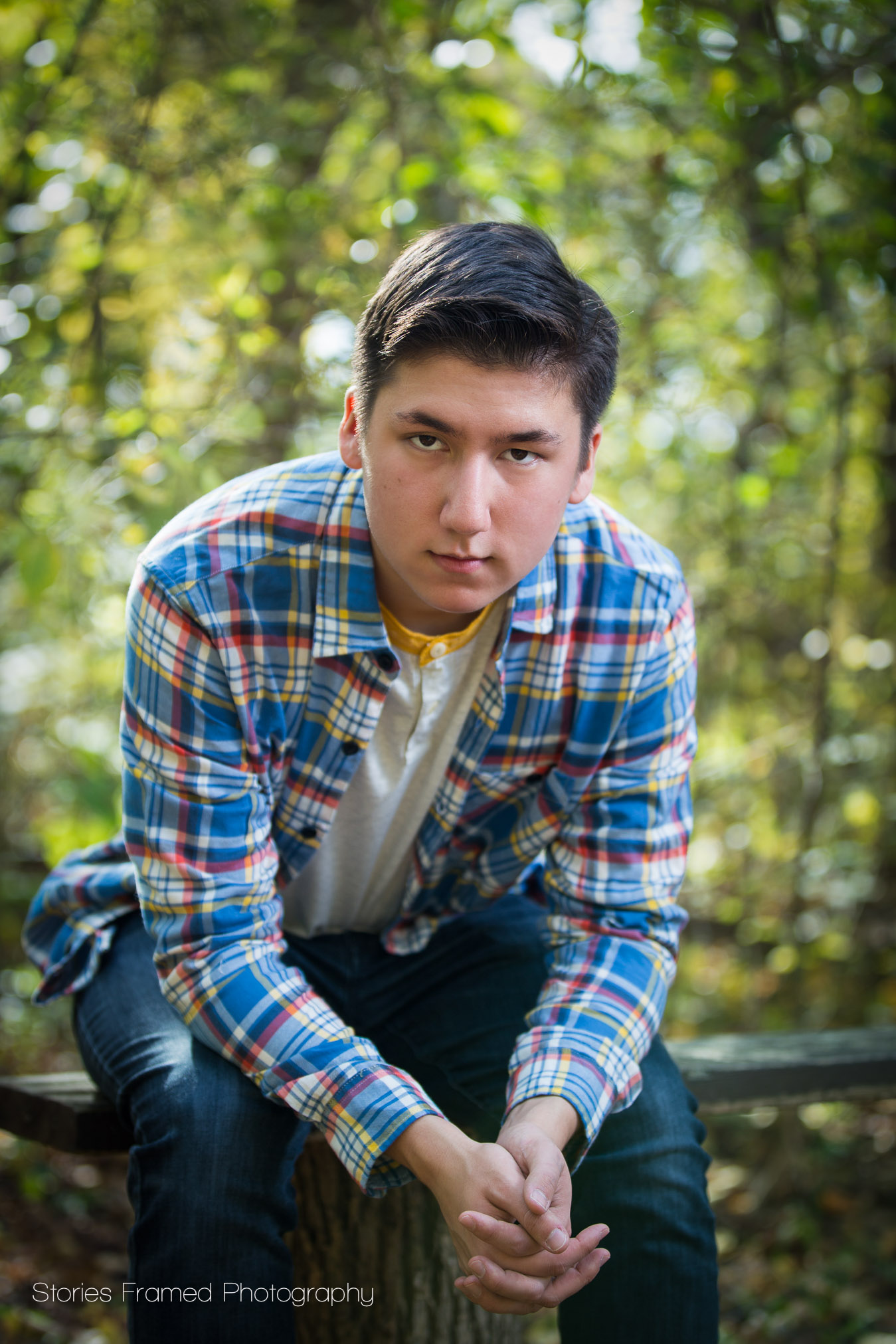 fall photo shoot senior boy in plaid