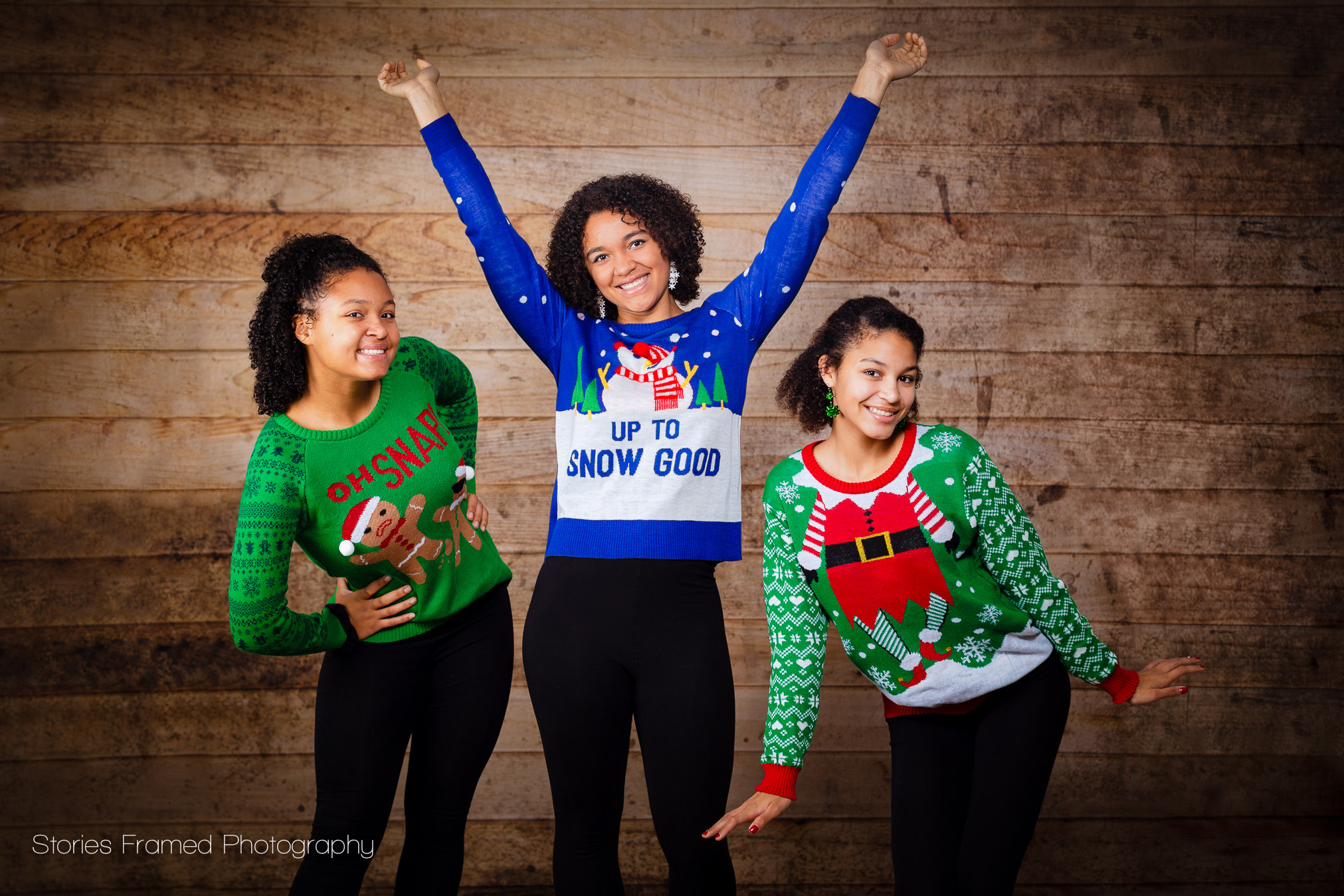 ugly christmas sweaters on 3 sisters