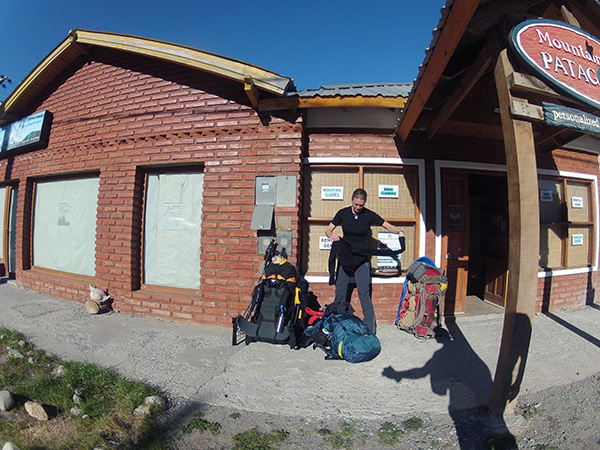 Final preparations outside 'Mountaineering Patagonia'. Unusual high pressure system promises a few fine days ahead.