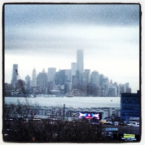 View from the bus on the way to New York just before entering the Lincoln Tunnel