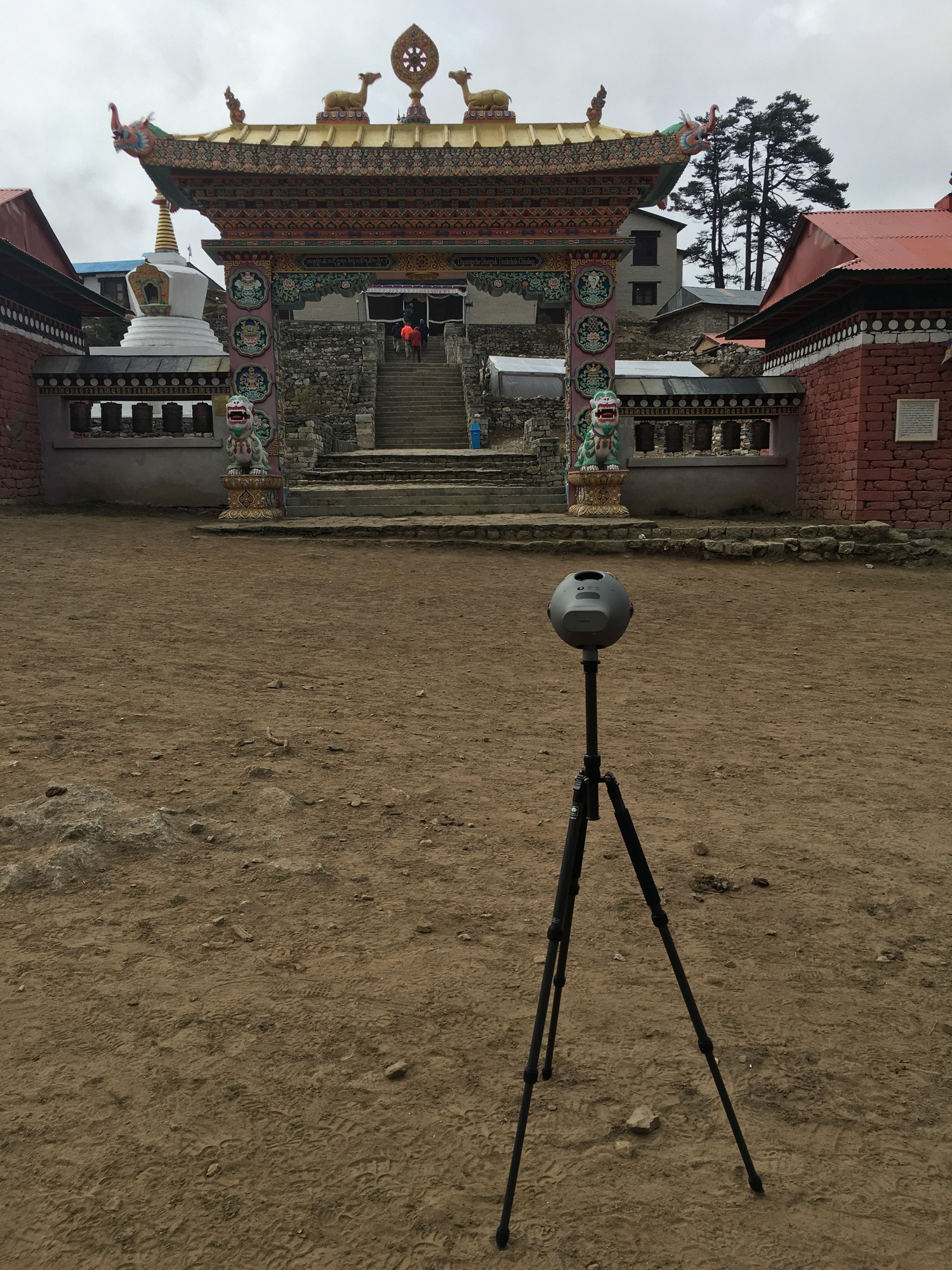 Capturing some 360s in front of the Tengboche Monestary.