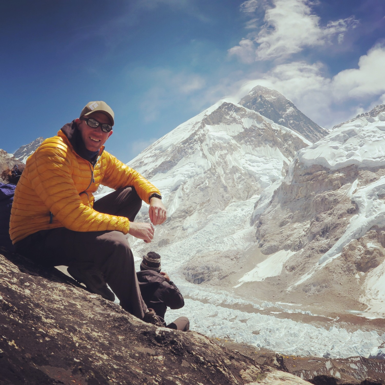 From Pumori Base Camp, views of the summit of Everest.
