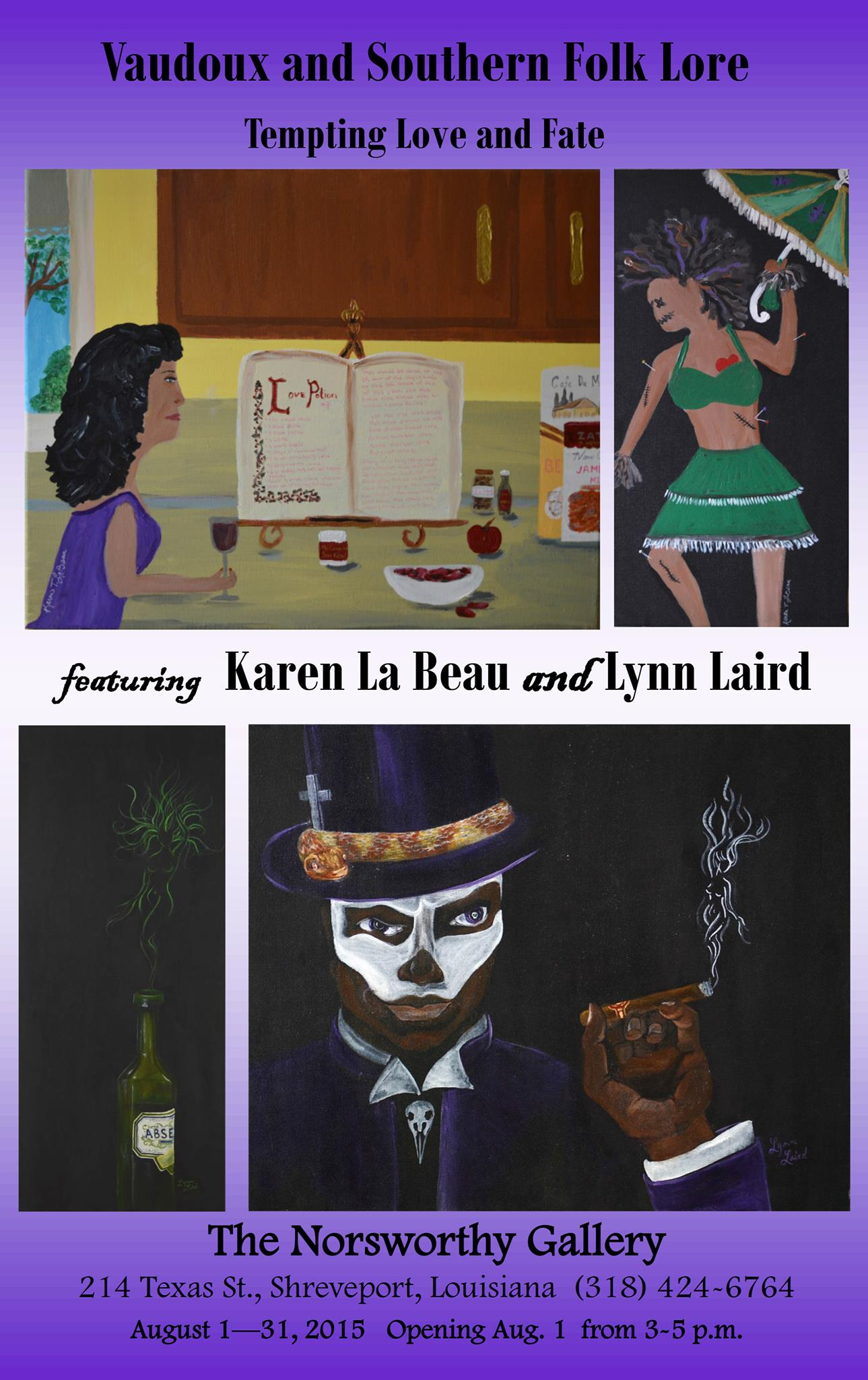 Vaudoux and Southern Lore: Tempting Love and Fate_Karen La Beau and Lynn Laird_Norsworthy Gallery_Shreveport LA