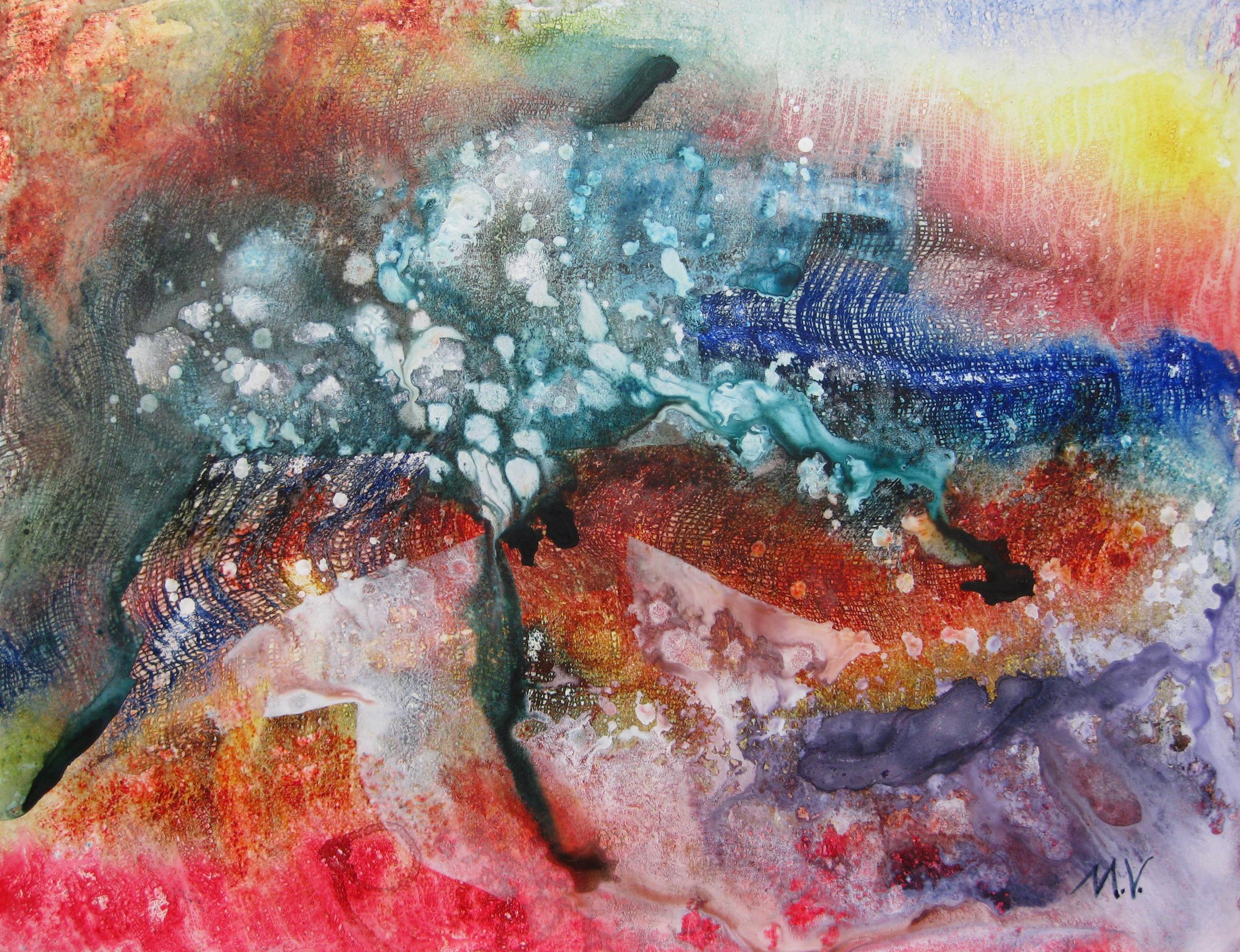 """""""Atlantis"""" by Mary Virginia Hill - 20 x 26 - Acrylic on Yupo Paper"""
