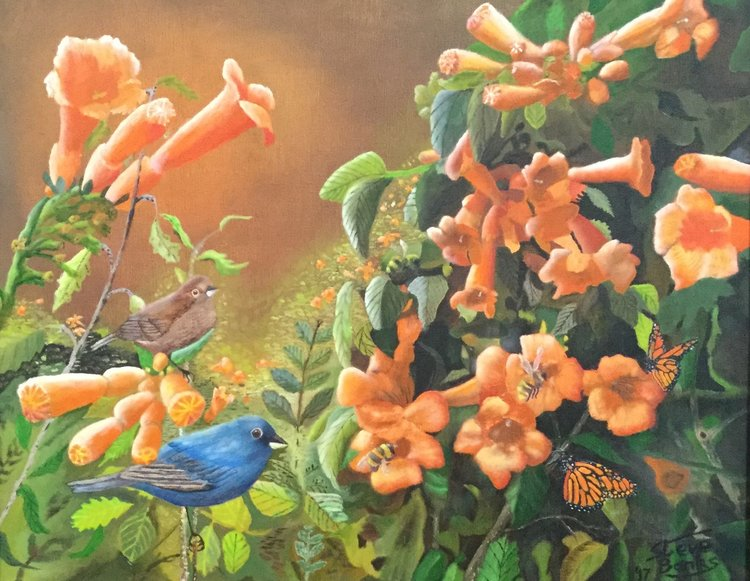 """""""Blooms, Birds, Butterflies and Bees"""" by Steve Banks"""
