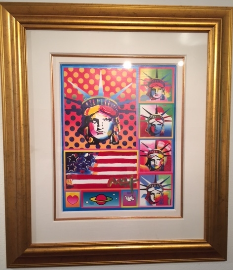 """Patriotic Series: Five Liberties & Flag"", by Peter Max."