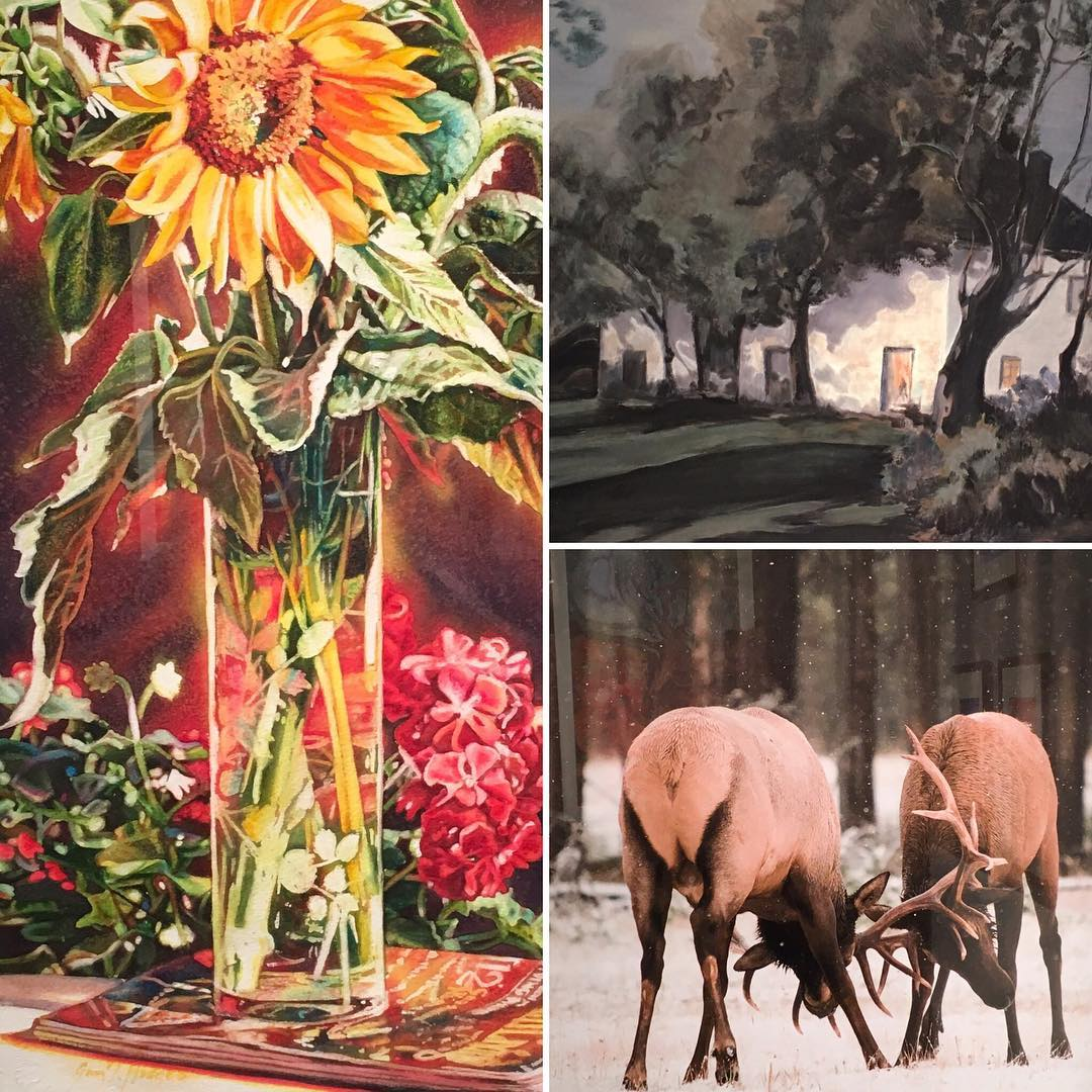 "Clockwise from left (details): ""Living in Light"" by Gwen Talbot Hodges, ""House in Evening"" by Jean Hundley, ""Elk"" by Cindy Singletary. Join us for an opening reception with Louisiana Artists, Inc. on Sunday afternoon!"