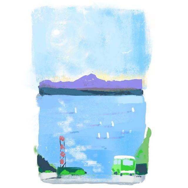 Happy hour  #Seattle #PNW #raysboathouse #ballard #olympicmountains #illustration #haystackstudios #procreate