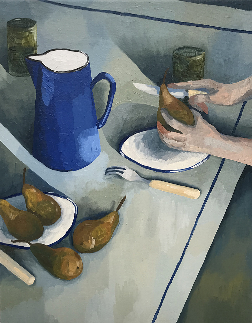 Still Life with Enamel Jug and Pears , 2017  40 x 50 cm, oil on canvas