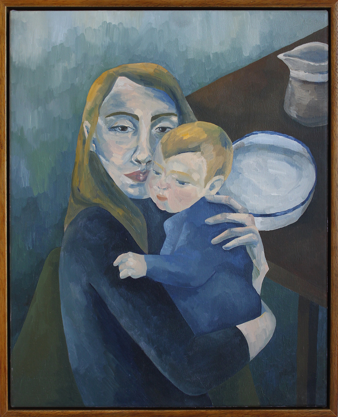 Jessica and Her Baby , commissioned portrait, 2018  40 x 50 cm, oil on canvas