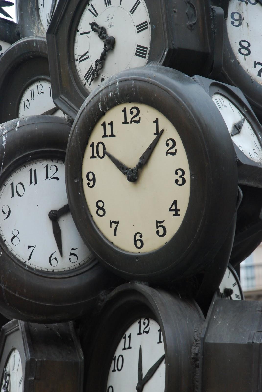 Clocks at Gare St Lazare railway station, Paris.