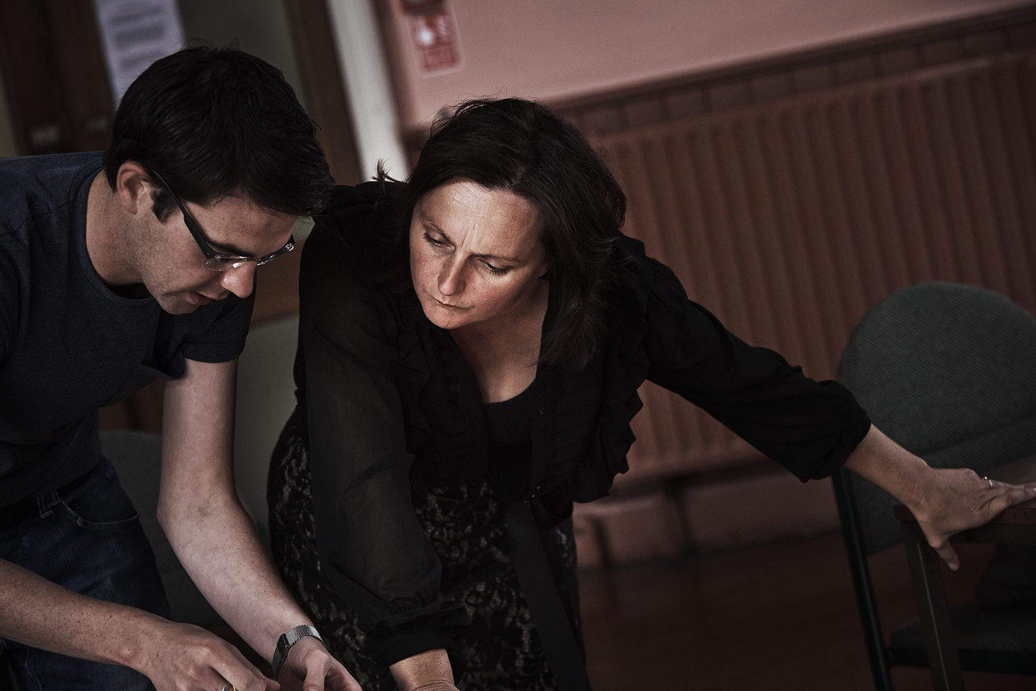 Diarmuid O'Quigley (Stage Manager) and Judy Hegarty Lovett (Director) in rehearsals for Waiting For Godot. Photo by Ross Kavanagh.