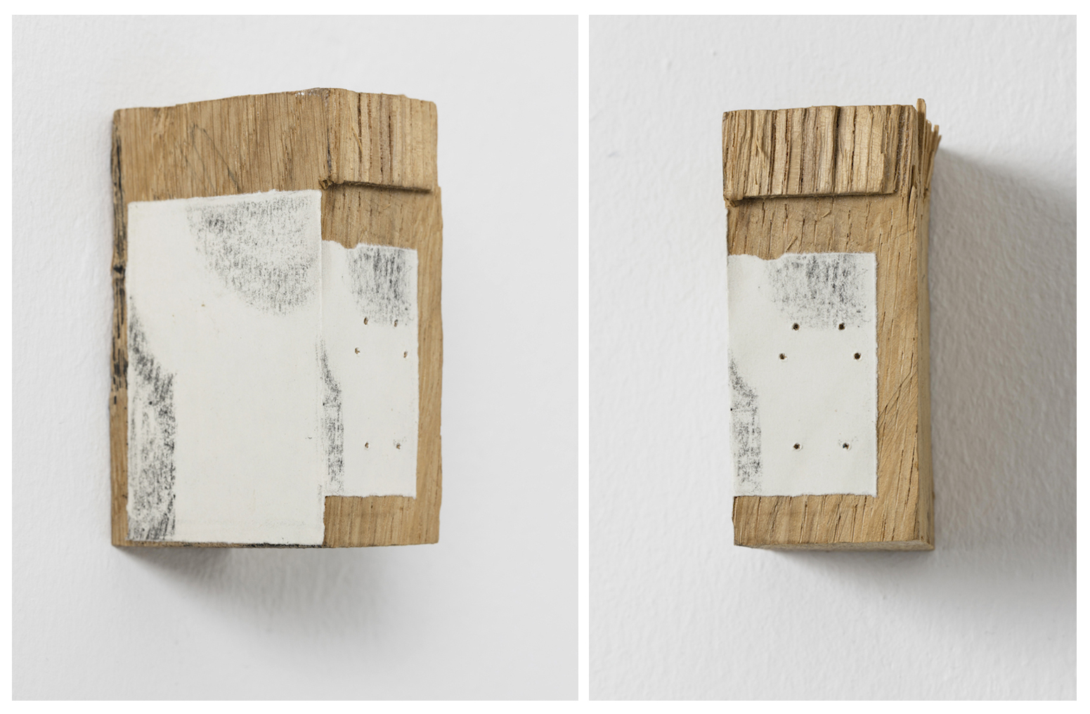 Untitled 2016    8x3,5x5 cm.    Wood, paper, graphite and 6 holes