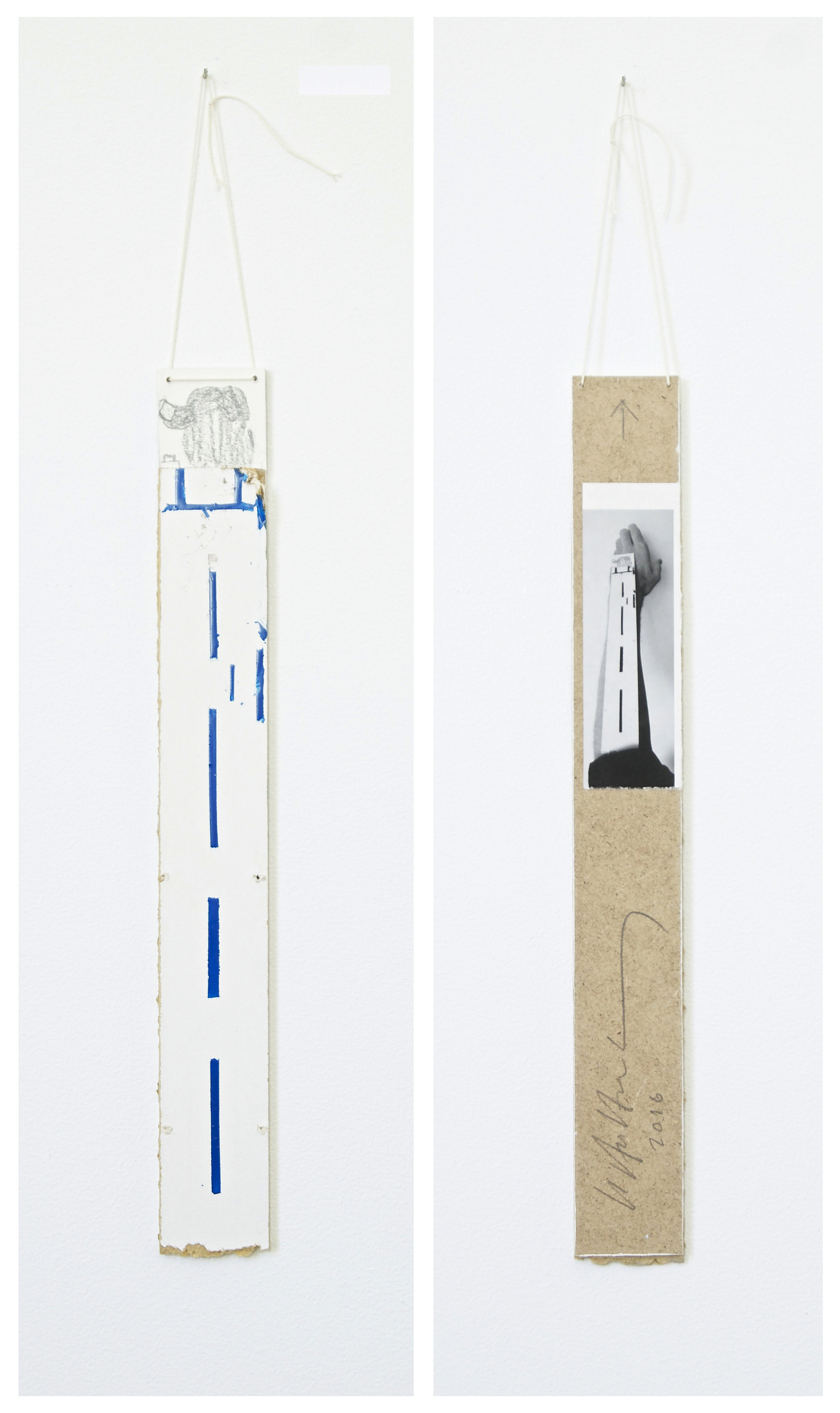 Armstykke/Arm Piece, 2016     33x4 cm.    Laminated board, paper, enamel, graphite, string     (Reverse side is not visible in an exhibition context)