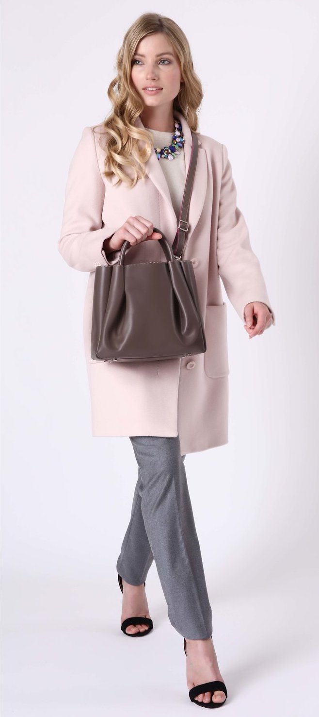 Alexandra de Curtis Taupe Midi Ruched Tote