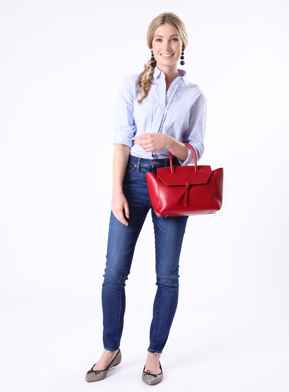 Alexandra de Curtis Red Midi Loren Tote Leather Handbag work tote