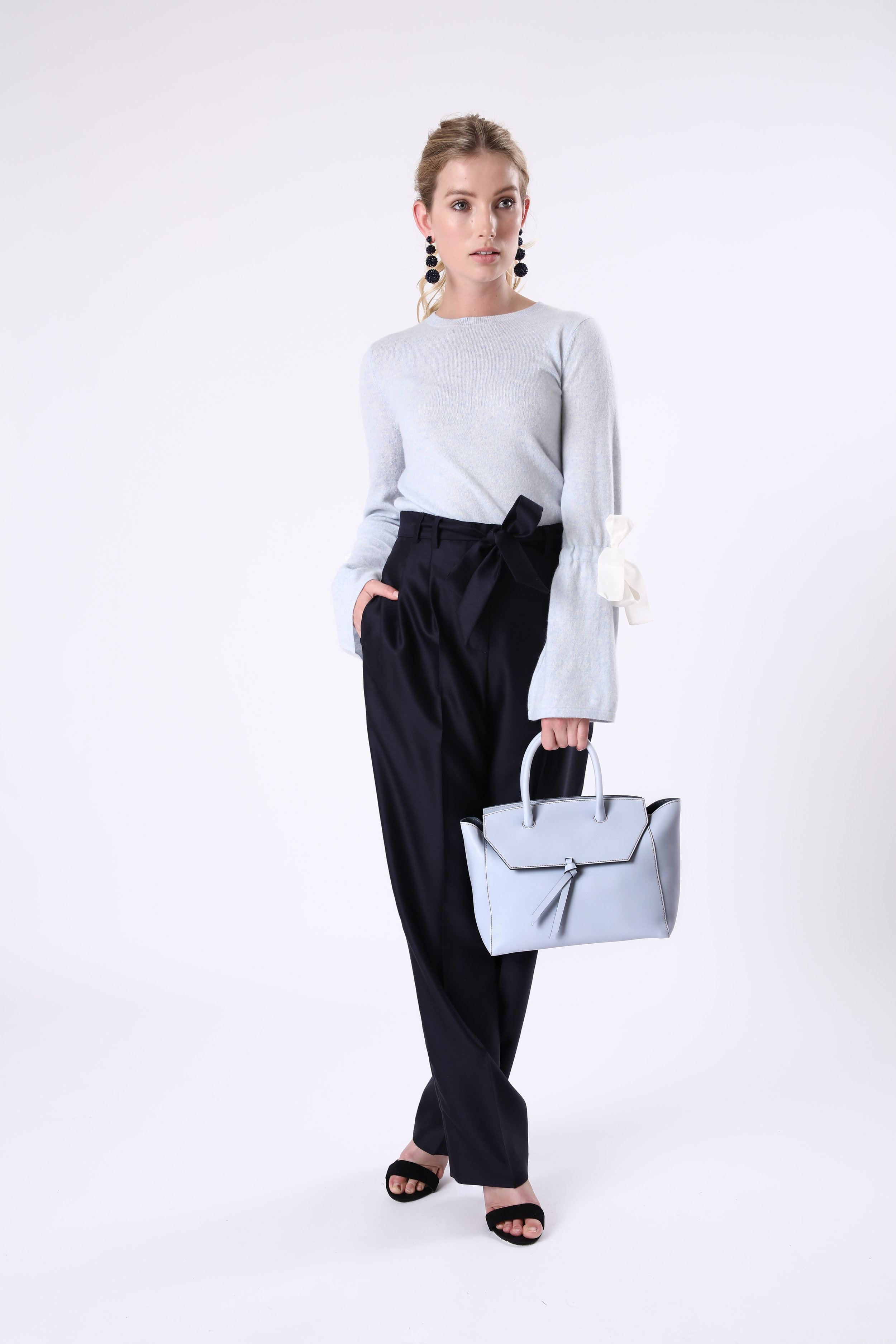 Alexandra de Curtis Sky Blue Midi Loren Tote Leather Handbag work tote