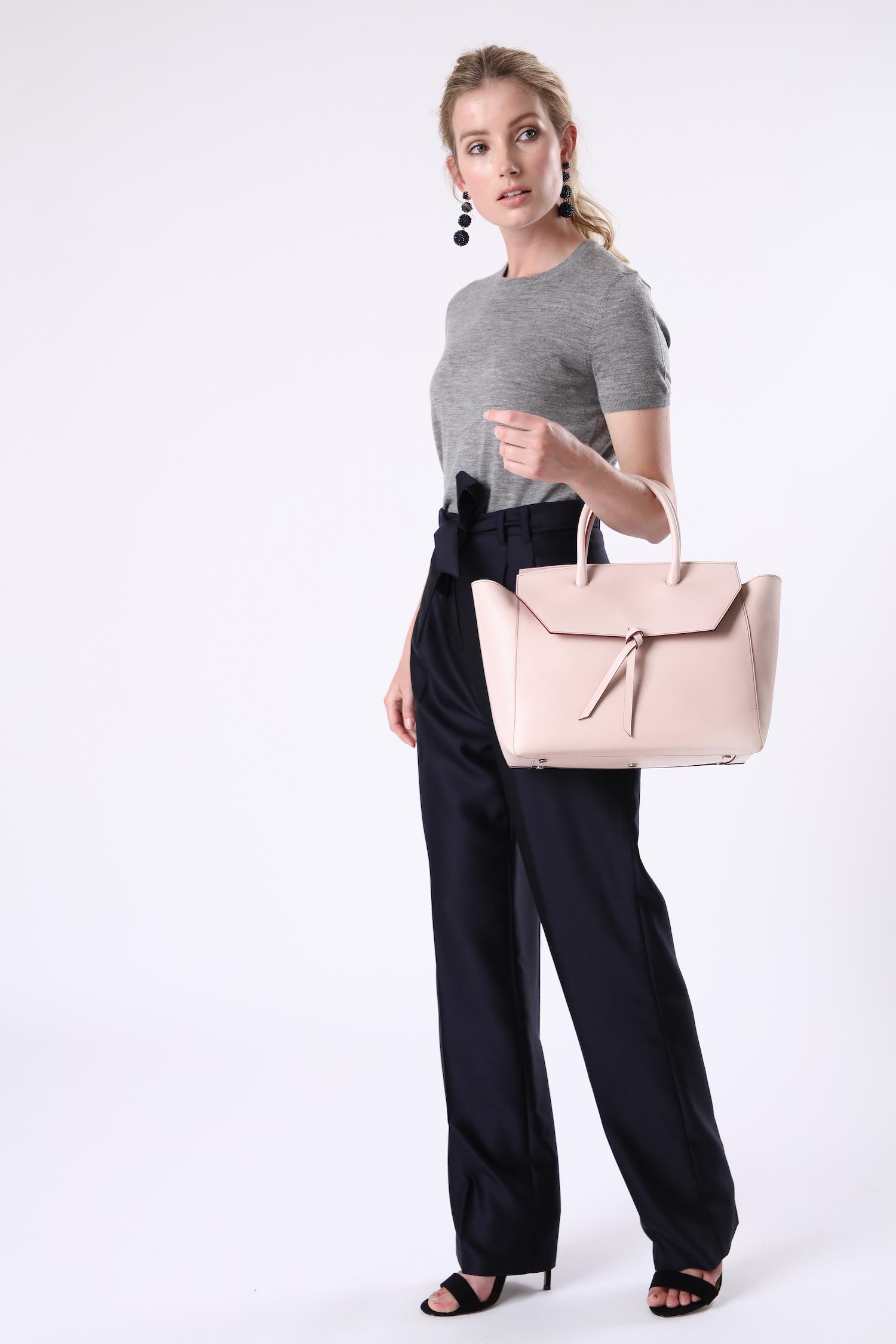 Alexandra de Curtis Blush Pink Loren Tote Leather Handbag work tote
