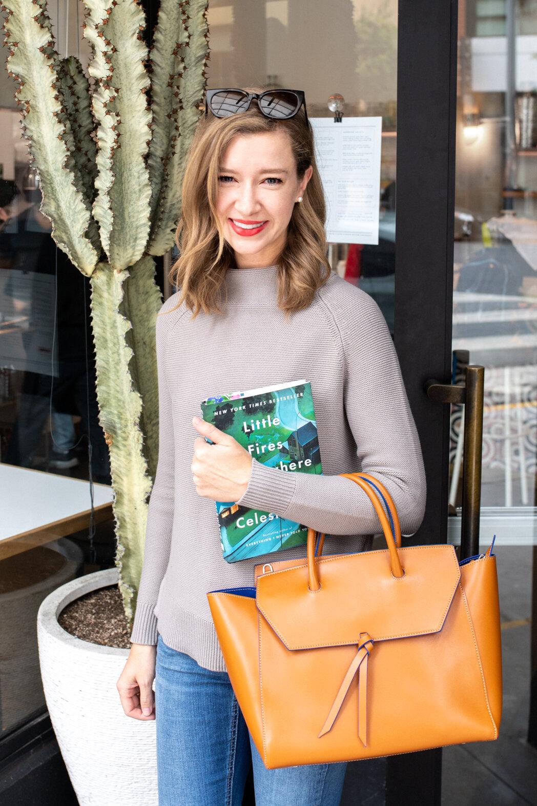 Alexandra de Curtis Cognac Loren Tote Leather Handbag work tote