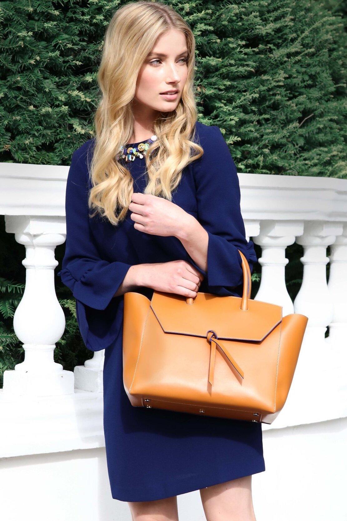 Alexandra de Curtis   Cognac Loren Tote Italian Leather Handbag