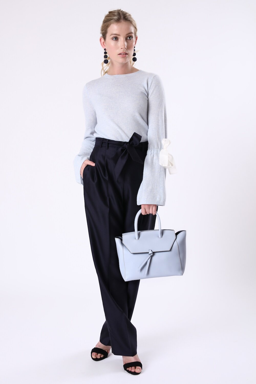 Sky Blue Midi Loren Italian Leather Handbag Tote