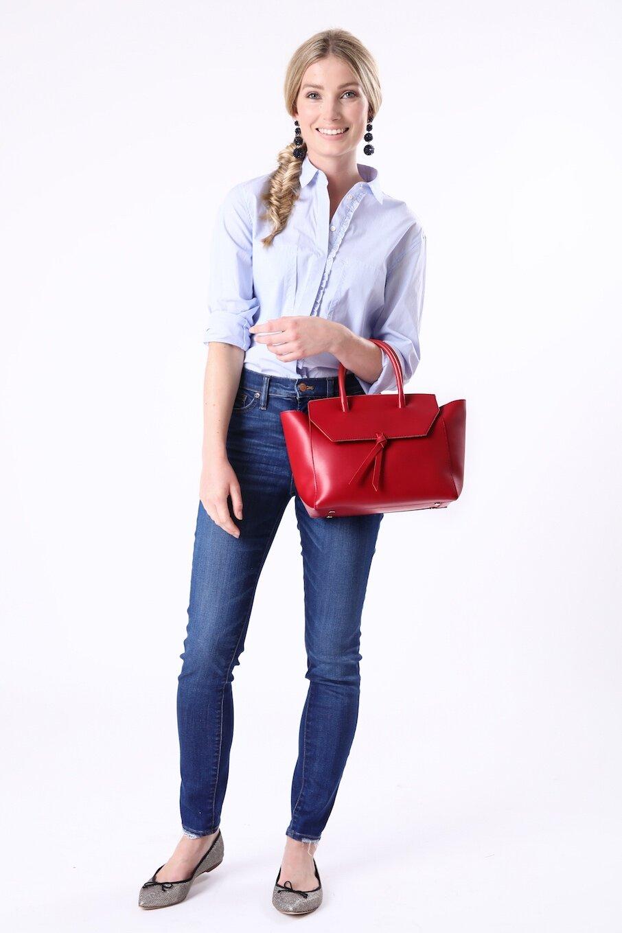 Red Midi Loren Italian Leather Handbag Tote