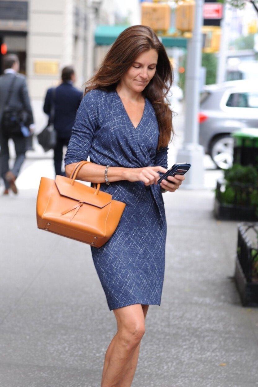 Alexandra de Curtis Cognac Tan Midi Loren Italian Leather Handbag Tote