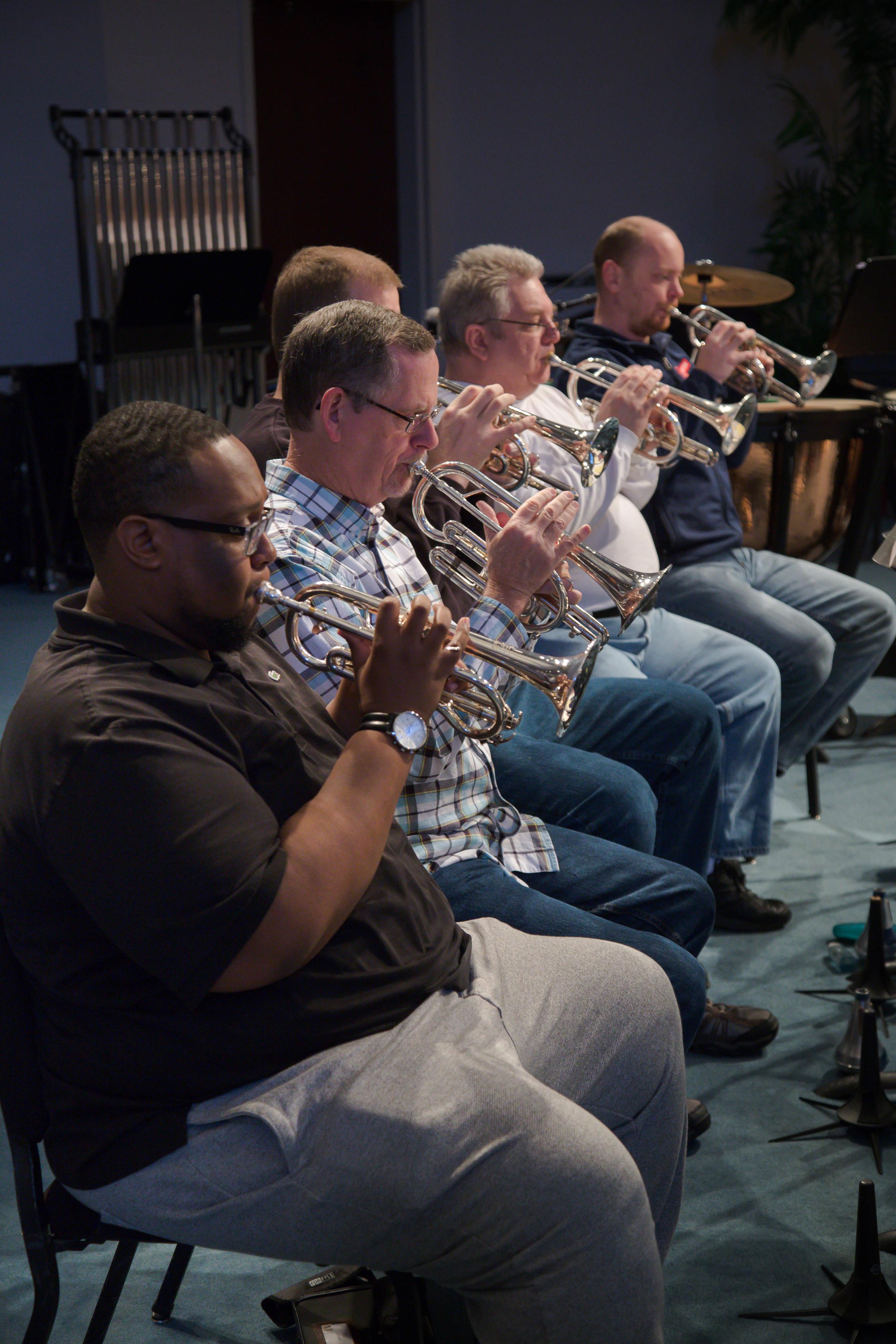 Back row cornets: Darryl Crossland (Soprano cornet),Paul Bridges, Andy Curless, Chip Seiler, Jeremy Leach