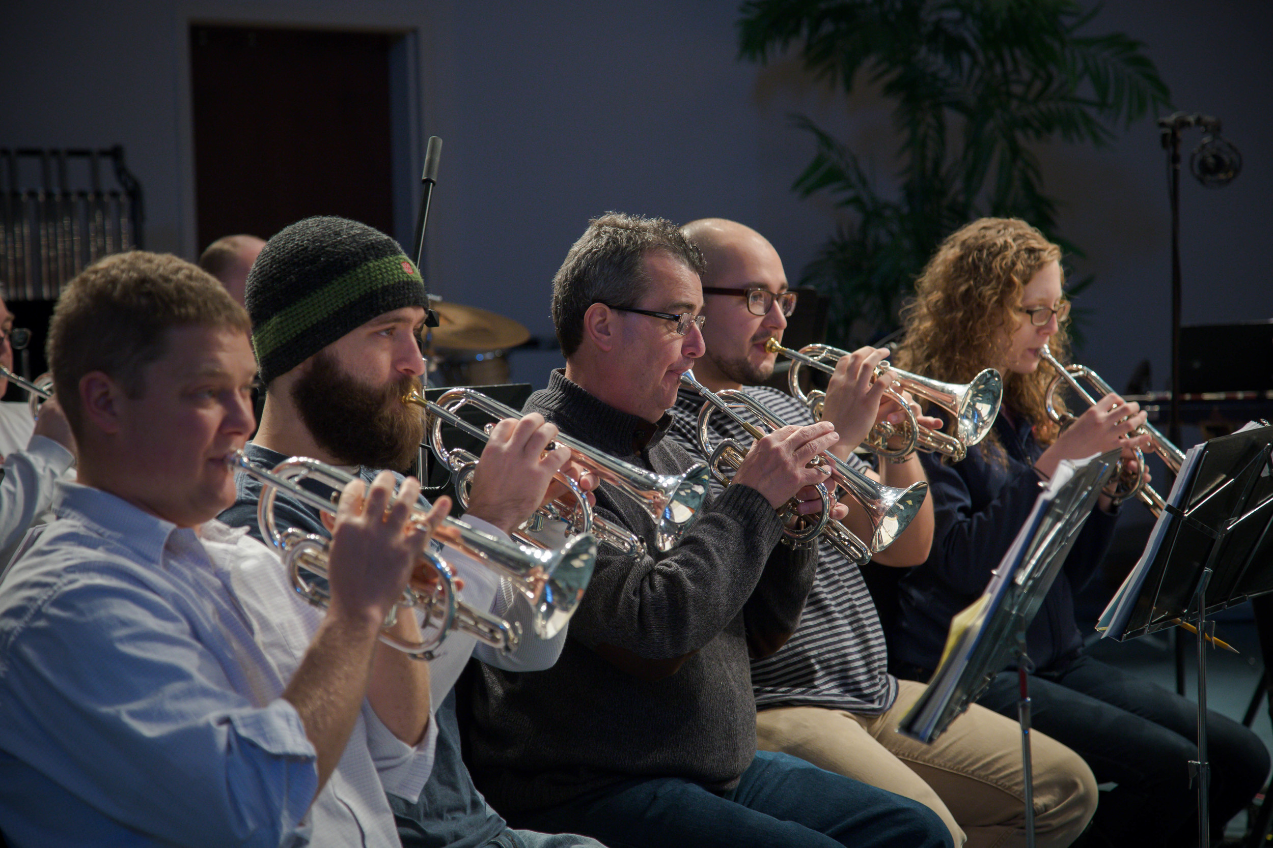 Front row cornets: Jeff Barrington, David Delaney, Lars-Otto Ljungholm, Manny Munoz, Sara Elliott