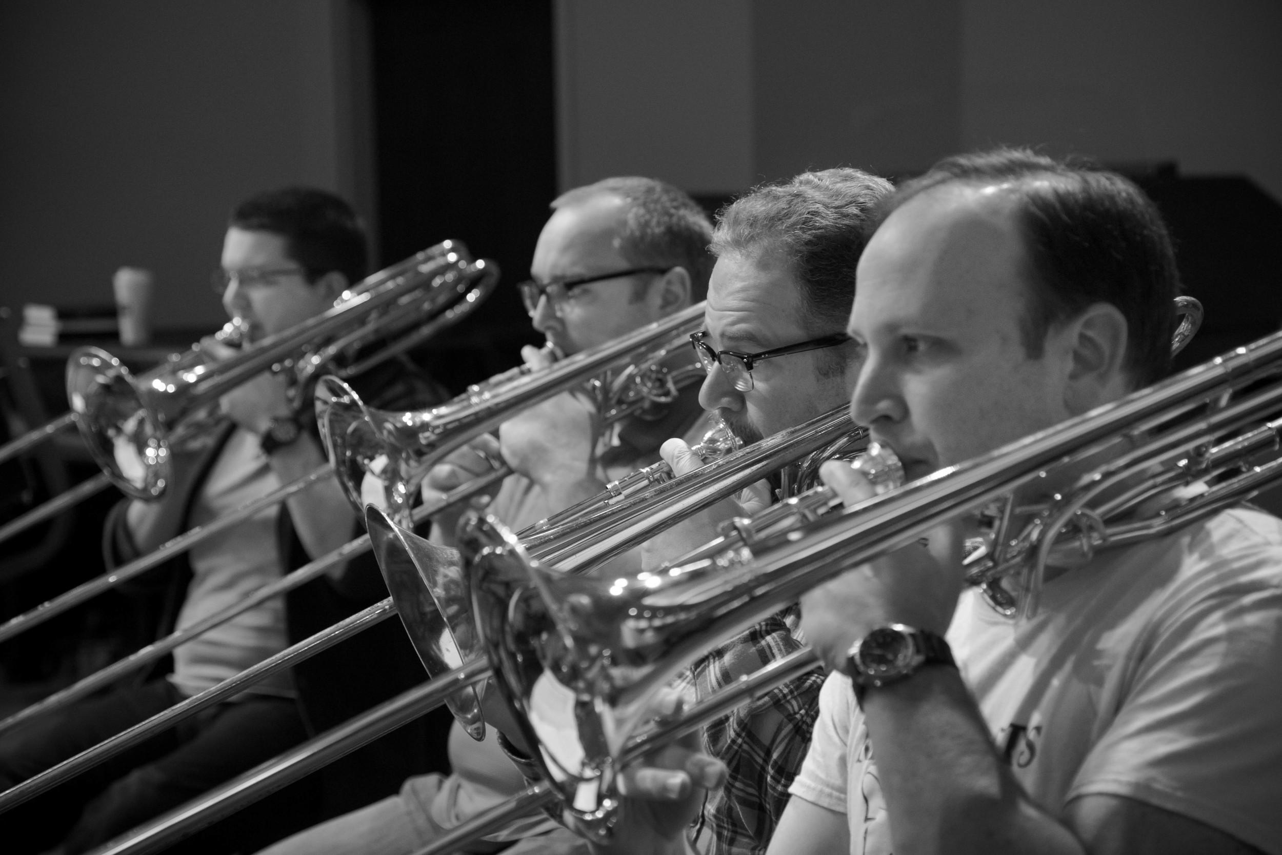 Trombone section: Jason Hathorn, Clarence White, Tom Hanton, Matt Broome