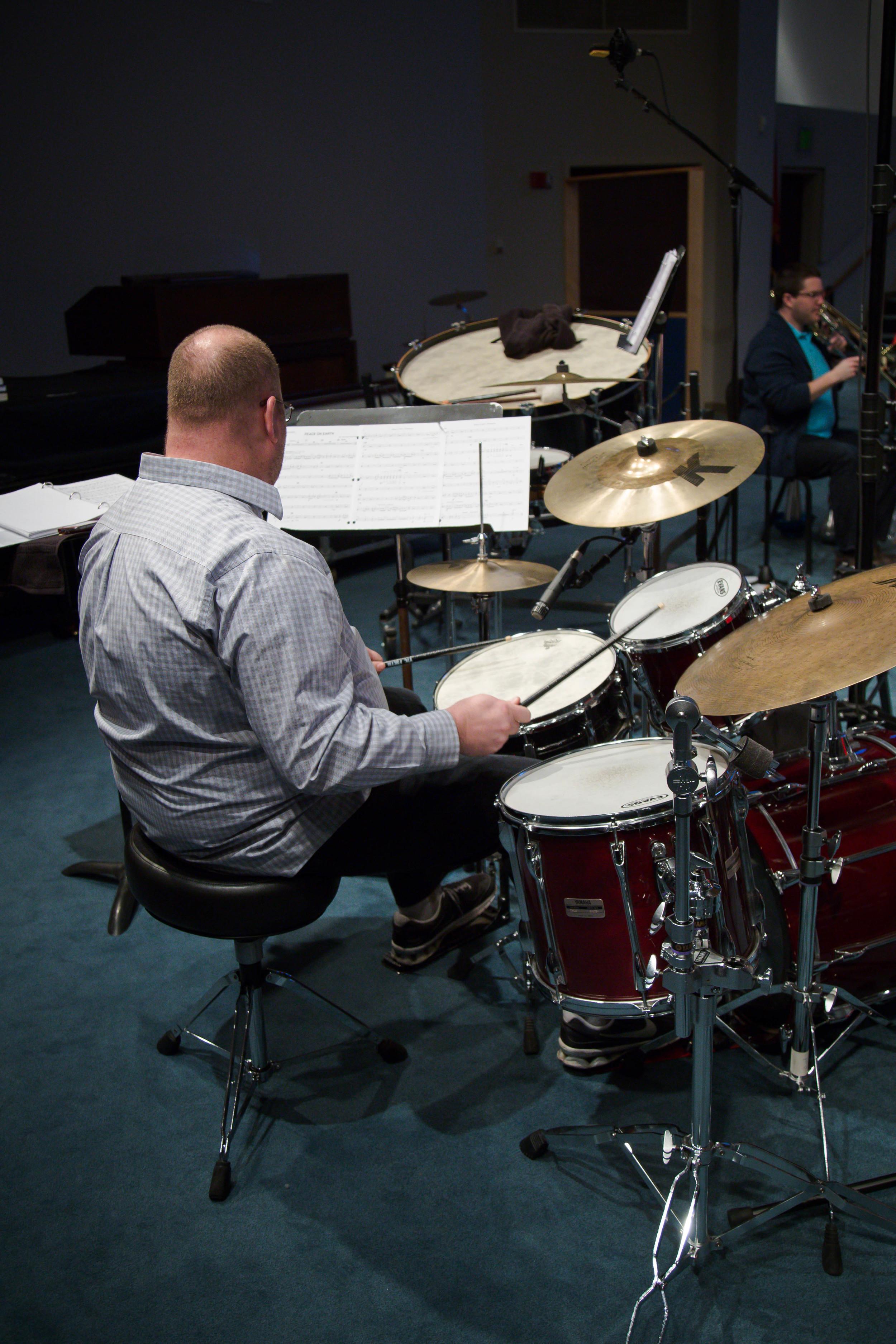 Bernie at the drum set