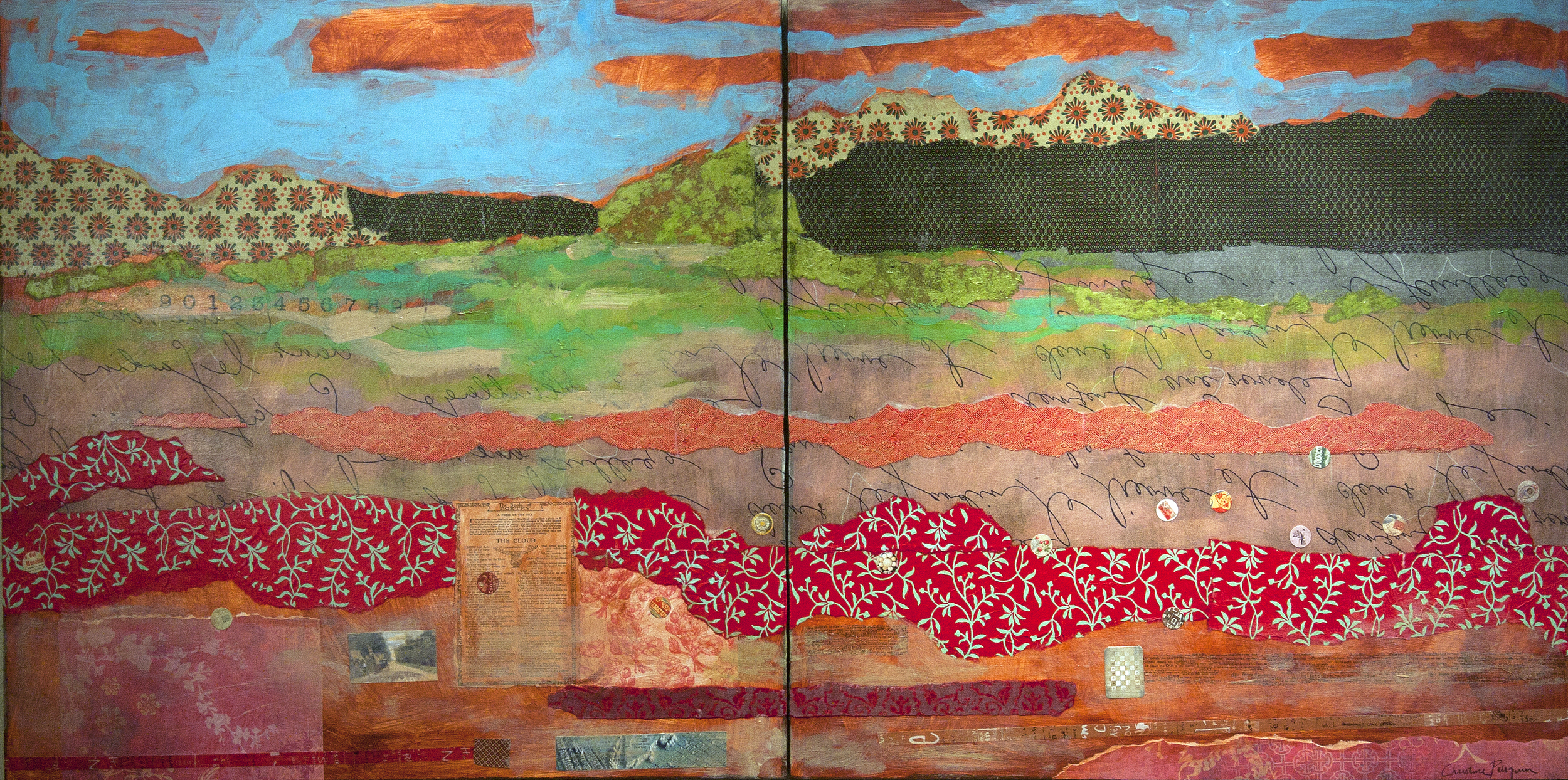 """A Poem of the Sky  , 36"""" x 72"""" on two panels"""