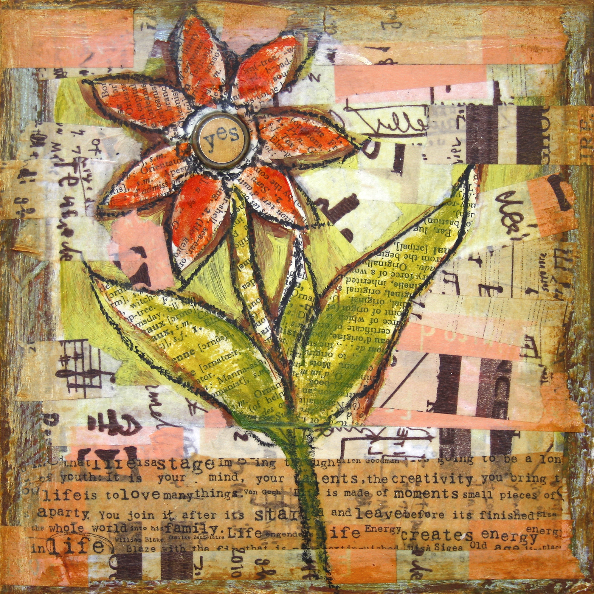 """Yes Bloom  , 6"""" x 6"""", Acrylics, china pen, washi tape, paper and fabric collage on wood panel"""