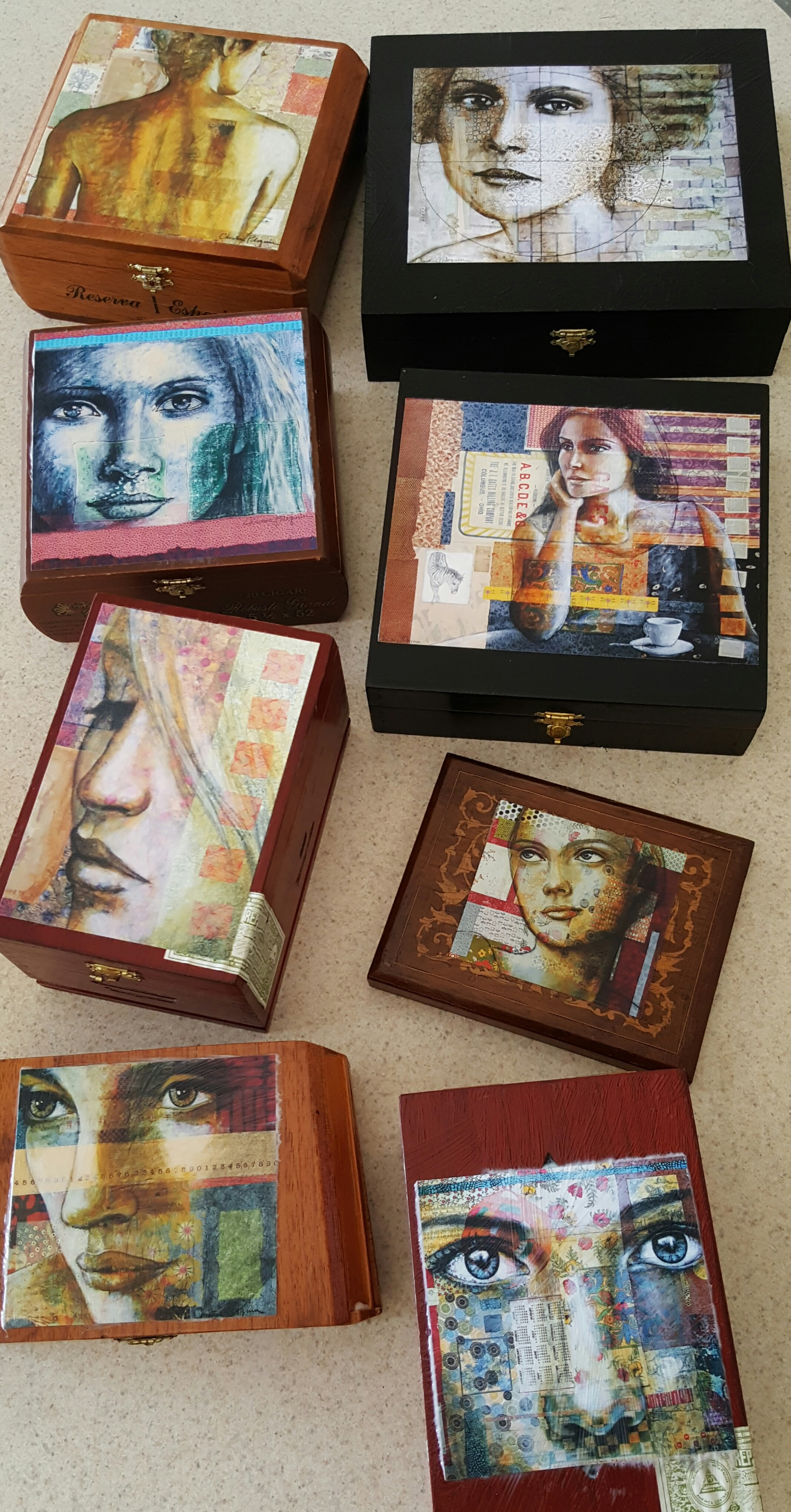 Prints on cigar boxes. These are all one of a kind. Please  email me  for pricing and info. $55-$95
