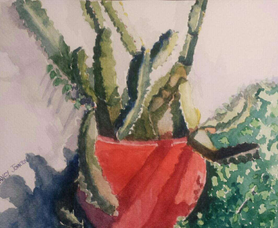 """Nancy Johnson, 6"""" x 6"""" watercolor"""