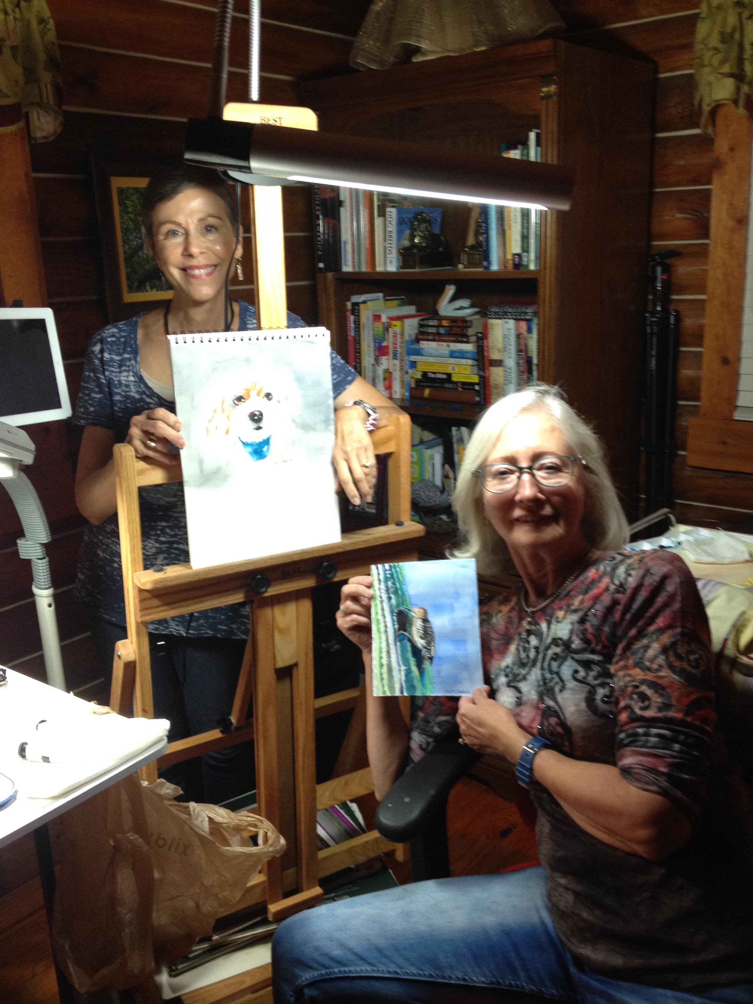Lynn Ashford and Nancy Johnson at work in the studio