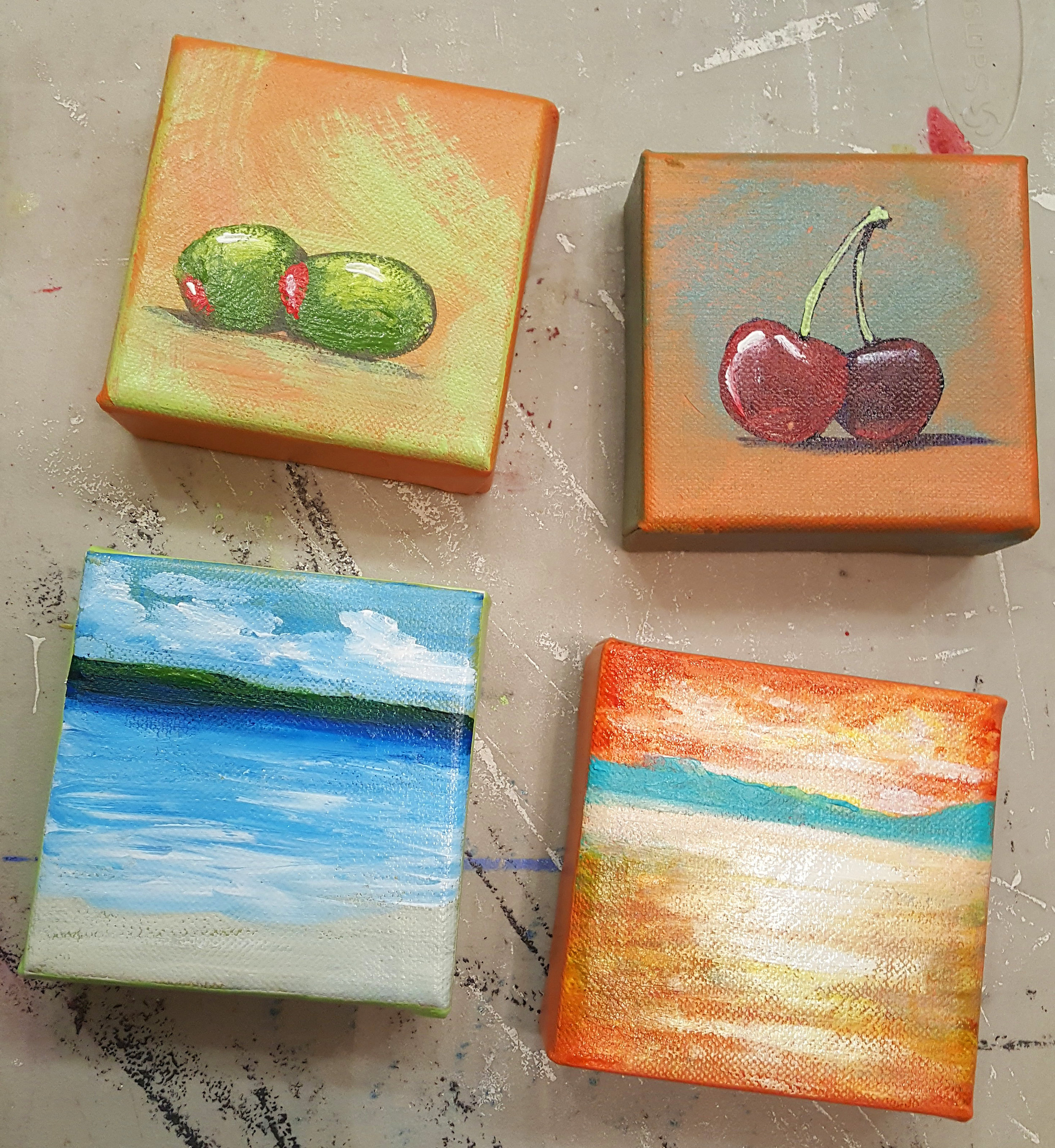 Cherries, Olives and Seascapes