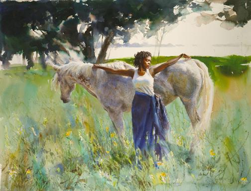 Summer Soltice- Mary Whyte, 30 x 39 1/4inches     watercolor on paper, 2003