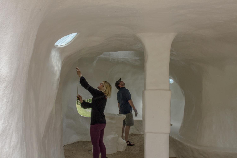 Lisa Hudson and Jonathan Malarkey sizing up Y Caban for Llif/Flow