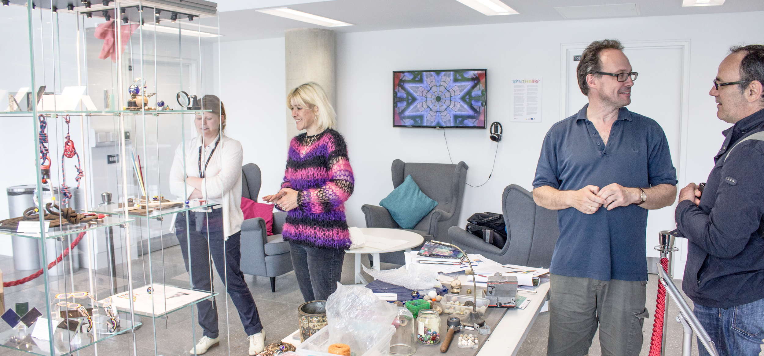 Creating the Llif/Flow 'display' at Pontio: Jonathan and Lisa in the centre taking a break from creating the display together (Lisa talking aesthetics, Jonathan talking Langmuir Circulation)