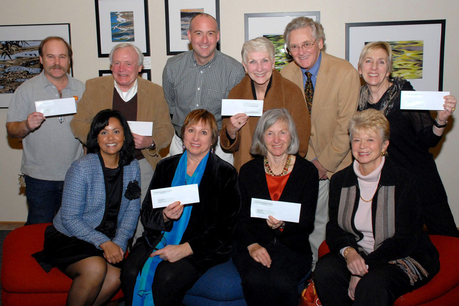 Sausalito Art Festival Foundation Executive Director Ann Dickson (lower left) with representatives of the nine nonprofit community groups that were awarded more than $26,000 in Leonard Kaprielian Grants in 2012.