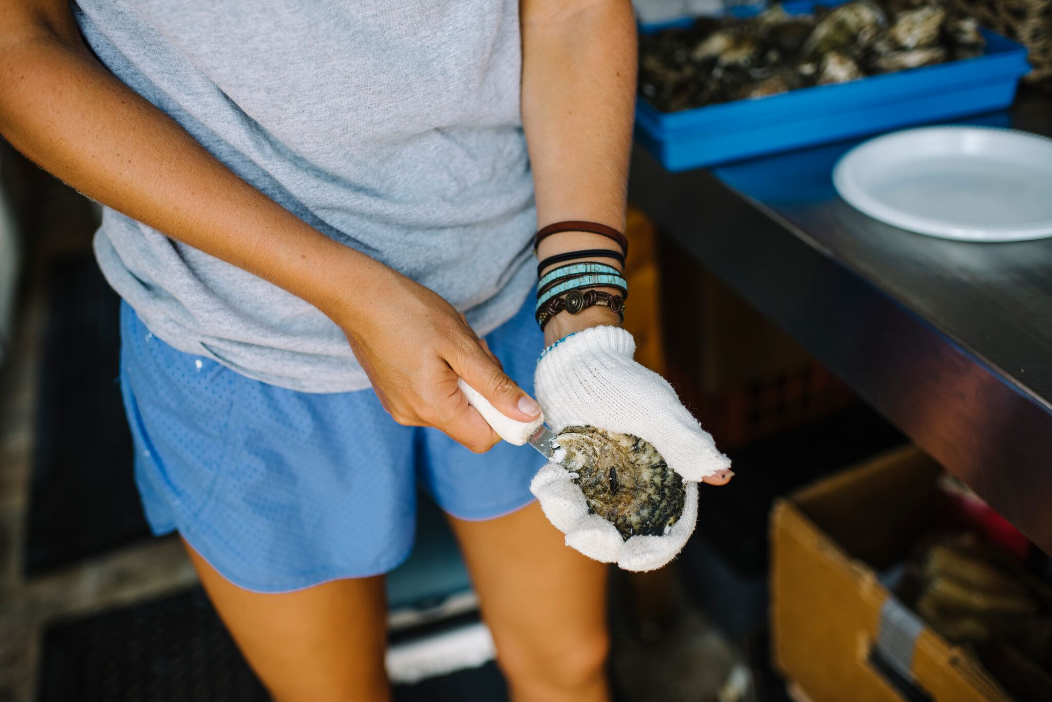 Shucking the oyster at Harbor Raw Bar