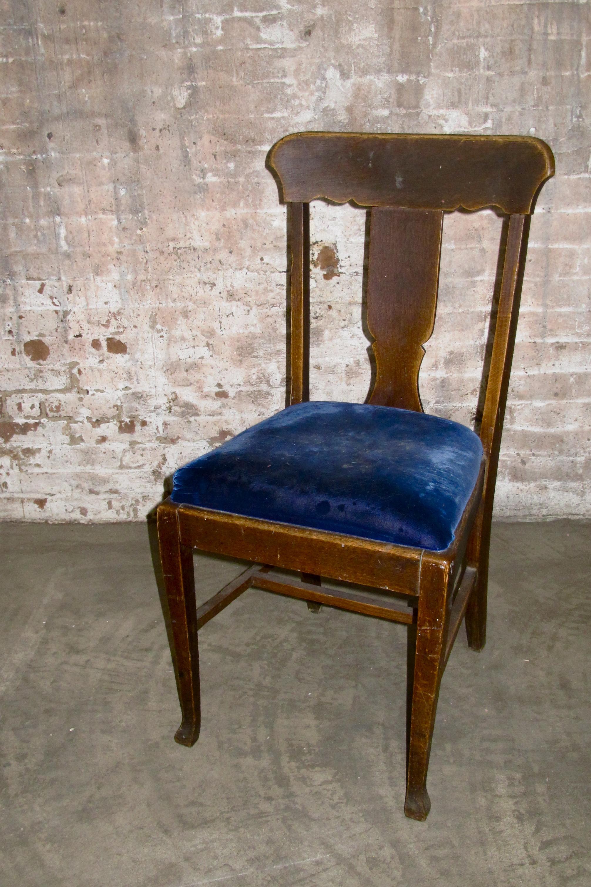 Blue Velvet Wood Dining Chair $50