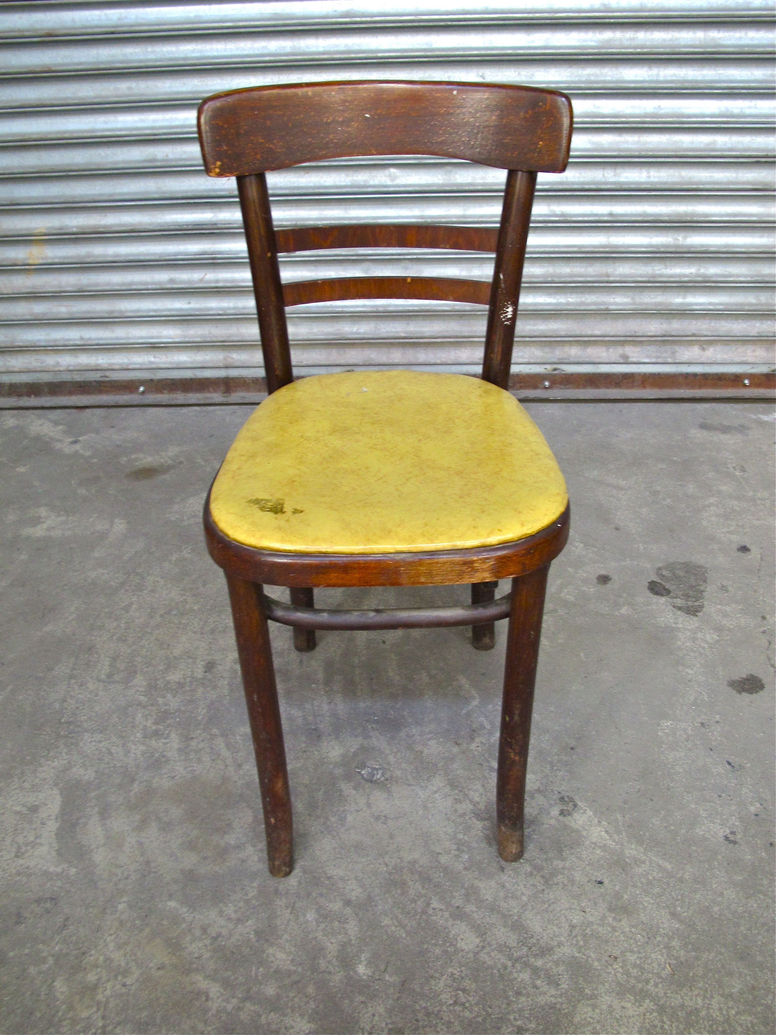 Yellow Vinyl Wood Cafe Chair $35