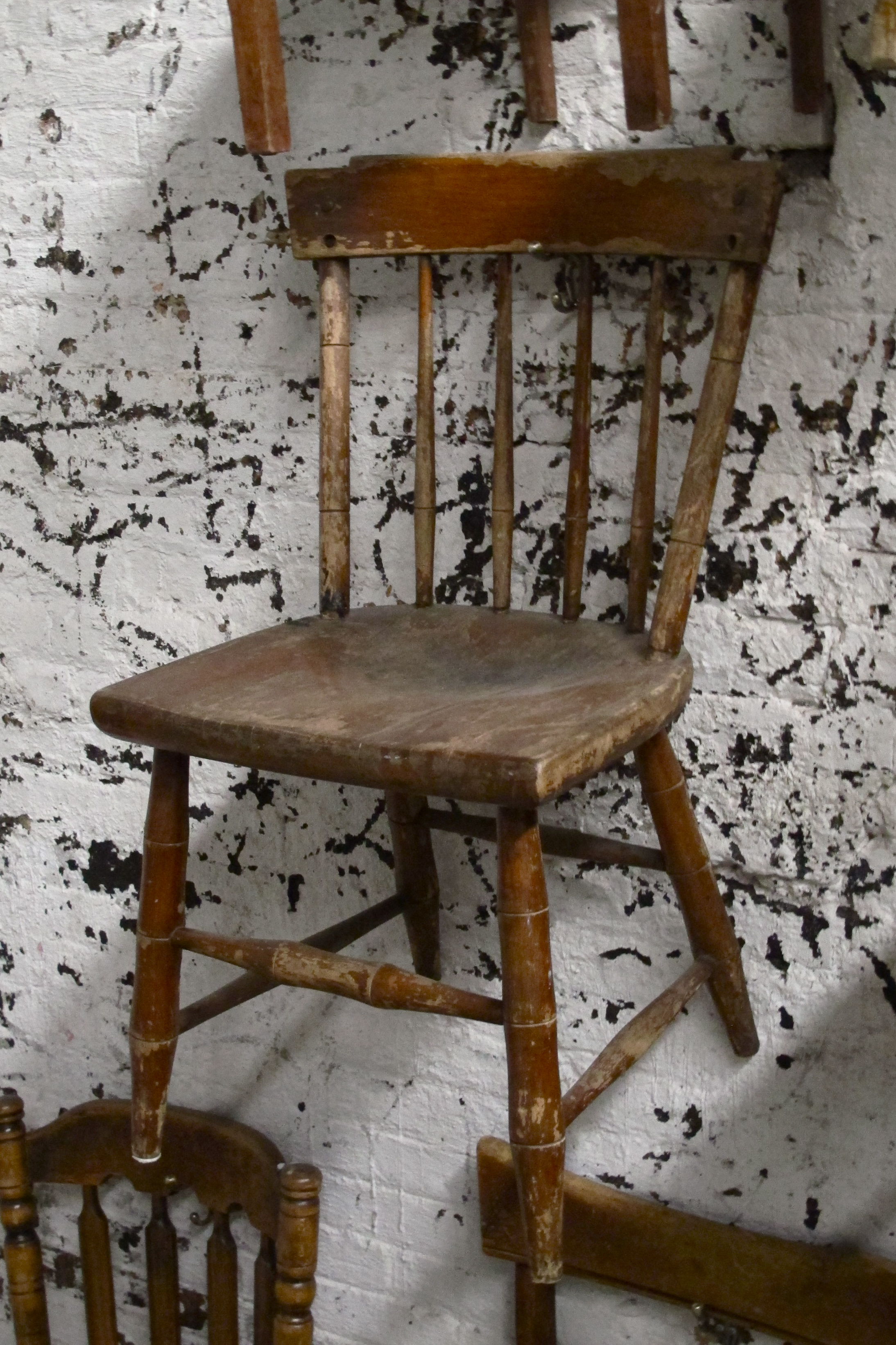 Wood Square Back Kitchen Chair $35