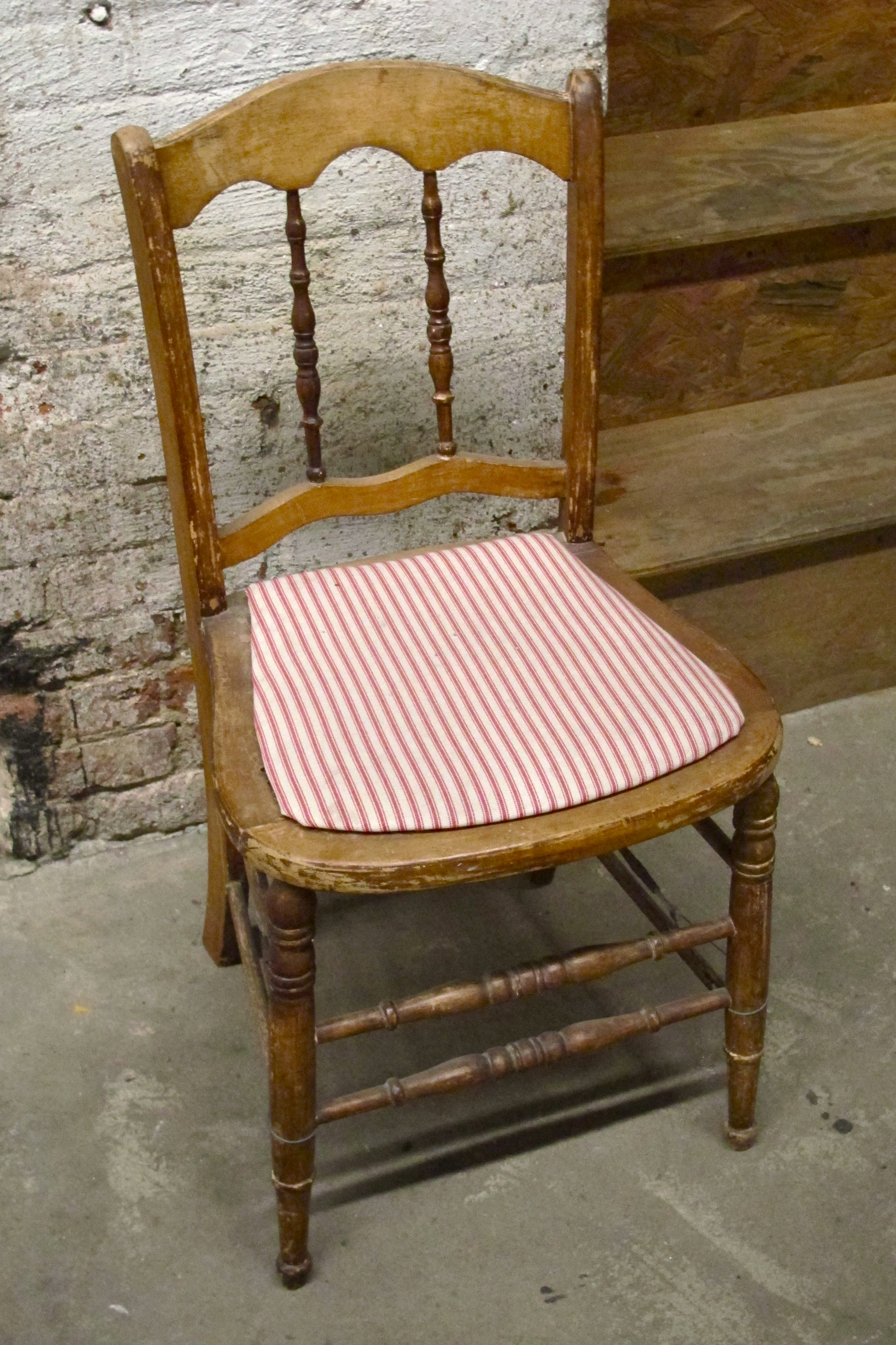 "Red Stripe Wood ""Cottage"" Chair $40"